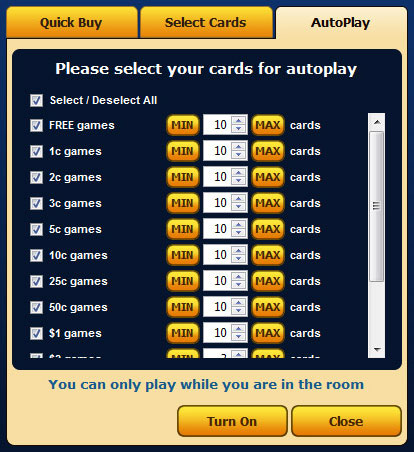 bingo cafe autodaub autoplay feature