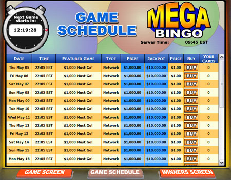 bingo cafe mega bingo network online bingo game