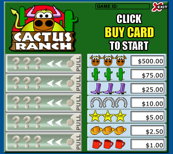 bingo cafe cactus ranch pull tabs online instant win game