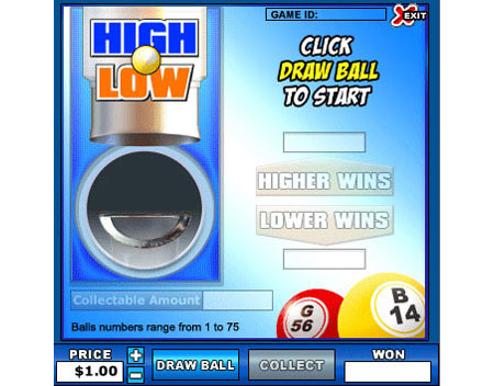 bingo cafe high low online instant win game