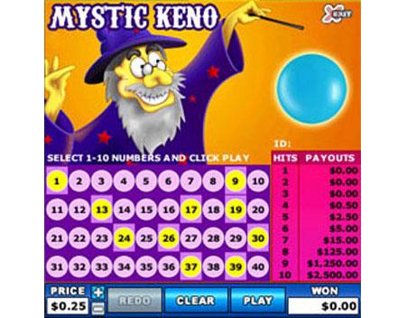 bingo cafe mystic keno online instant win game